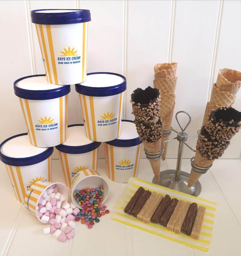 Ice cream bundle at Rays Ice Cream, 6 500ml tubs with waffle cones and all the trimmings
