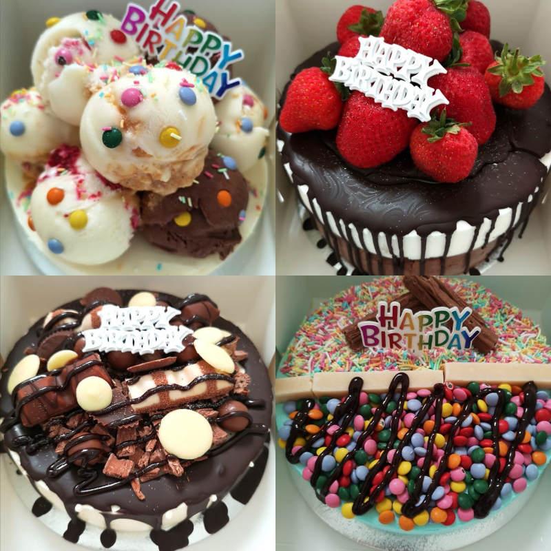 Collage of 4 ice cream cakes from Rays Ice Cream