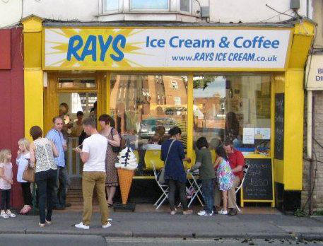 Rays Ice Cream shop front with people queuing outside. Old Town, Swindon