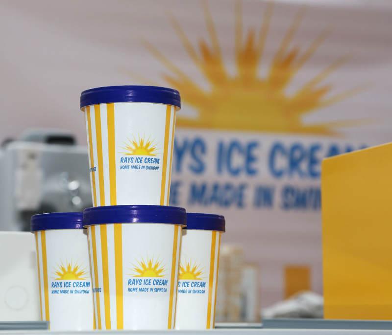 4 500ml branded Rays Ice Cream tubs