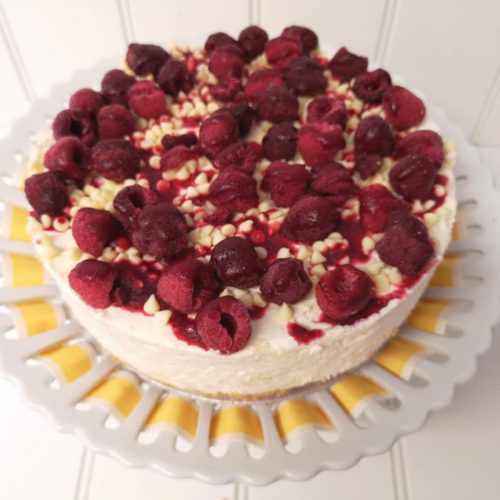 Rays Ice Cream raspberry and white chocolate cheesecake