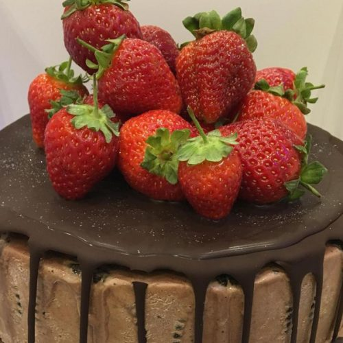 Vegan chocolate ice cream cake with strawberries from Rays Ice Cream