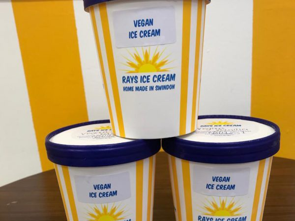 3 500ml take home tubs of home made vegan ice cream in Rays Ice Cream branded tubs