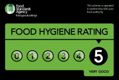 Rays Ice Cream's 5 star food hygiene certificate from Swindon Borough Council