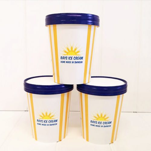 3 500ml branded Rays Ice Cream tubs