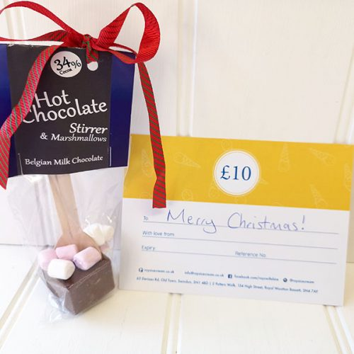 Hot Chocolate Stocking filler containing a Rays Ice Cream gift voucher and a Pendragon hot chocolate stirrer