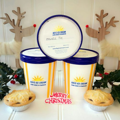 3 500ml tubs of festive ice cream, home made by Rays Ice Cream
