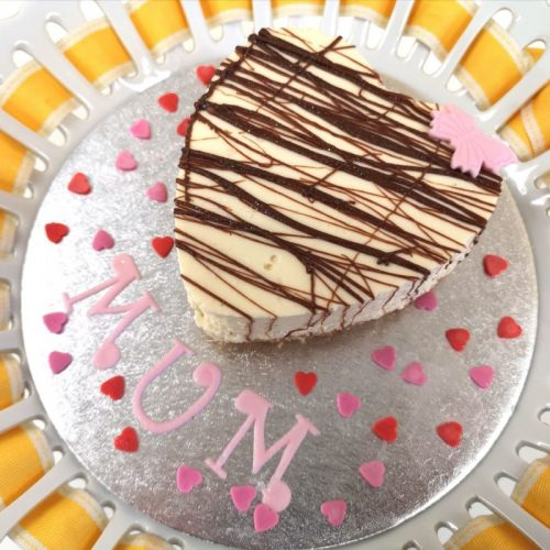 Mothers Day Baileys Cheesecake, heart shaped, portion for 2. £8.50
